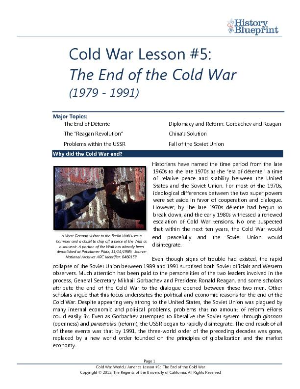 lessons from a cold war Like the cold war, the war against terrorism will be a very long struggle in which  ideological, political, and socioeconomic campaigns will be as.