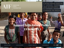 Support to Rickshaw Pullers
