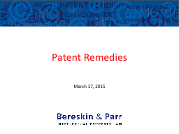 Patent Remedies