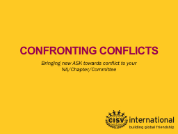 CONFRONTING CONFLICTS