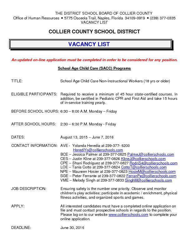 collier county dating Position type: support staff/instructional assistant date posted: 5/30/2018  location: lake trafford elementary date available: 08/14/2018 closing date.