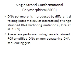 Single Strand Conformational Polymorphism (SSCP)
