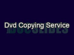 Dvd Copying Service