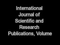 International Journal of Scientific and Research Publications, Volume