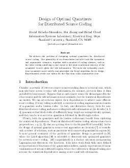 Design of Optimal Quantizers for Distributed Source Coding David RebolloMonedero Rui Zhang and Bernd Girod Information Systems Laboratory Electrical Eng