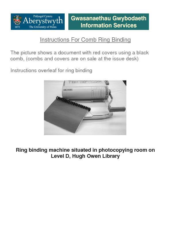 Instructions For Comb Ring Binding