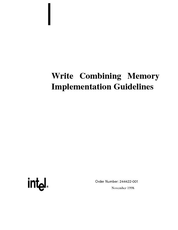 Write Combining MemoryImplementation Guidelines