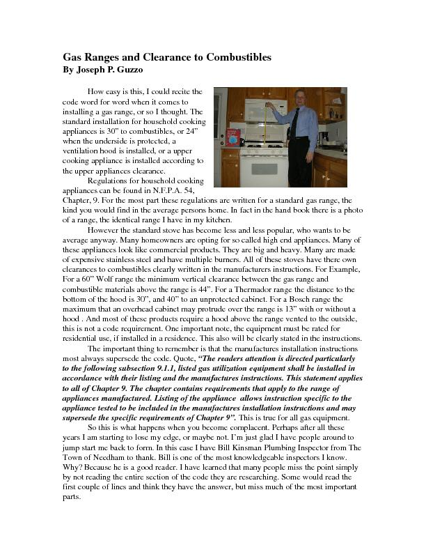 Gas Ranges and Clearance to Combustibles By Joseph P. Guzzo   How easy