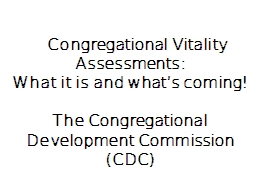 Congregational Vitality Assessments: