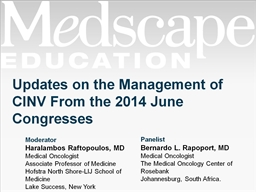 Updates on the Management of CINV From the 2014 June Congre