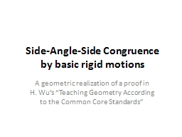 Side-Angle-Side Congruence PowerPoint PPT Presentation