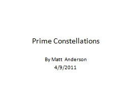 Prime Constellations