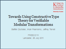 Towards Using Constructive Type Theory for Verifiable