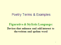 1 Poetry Terms & Examples PowerPoint PPT Presentation