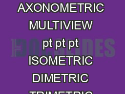 Geometric Projections PLANAR PARALLEL PERSPECTIVE OBLIQUE ORTHOGRAPHIC AXONOMETRIC MULTIVIEW pt pt pt ISOMETRIC DIMETRIC TRIMETRIC Parallel Projection projectors are parallel to each other