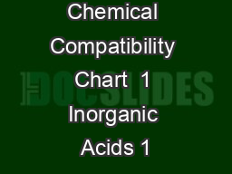 Chemical Compatibility Chart  1 Inorganic Acids 1 PowerPoint PPT Presentation