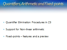 Quantifiers, Arithmetic and Fixed-points PowerPoint PPT Presentation