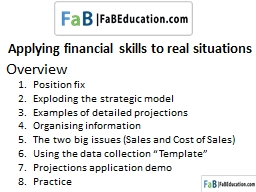 Applying financial skills to real situations