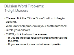Division Word Problems: