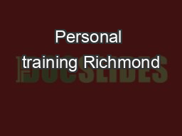 Personal training Richmond