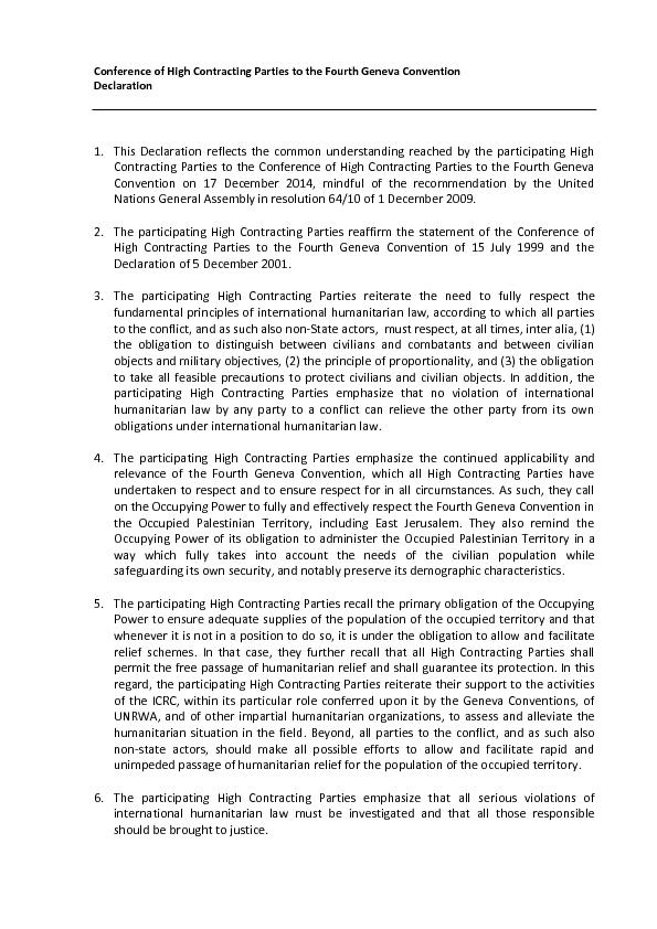 Conference of High Contracting Parties to the Fourth Geneva Convention