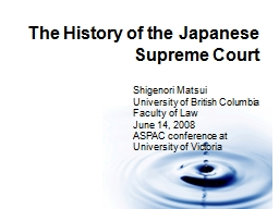 1 The History of the Japanese Supreme Court