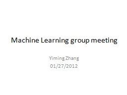 Machine Learning group meeting