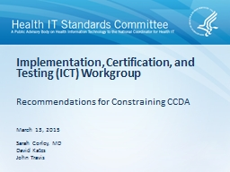 Recommendations for Constraining CCDA PowerPoint PPT Presentation