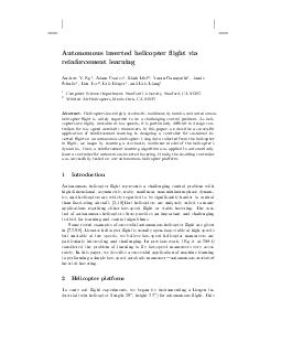 Autonomous inverted helicopter ight via reinforcement learning Andrew Y