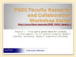 PDSC Faculty Research and Collaboration Workshop Series