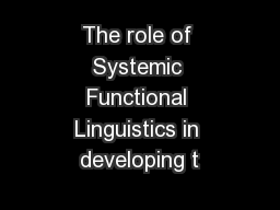 The role of Systemic Functional Linguistics in developing t