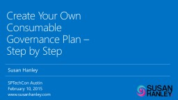 Create Your Own Consumable Governance Plan – Step by Step