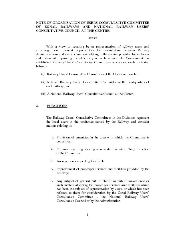 NOTE OF ORGANISATION OF USERS CONSULTATIVE COMMITTEE OF ZONAL RAILWAYS
