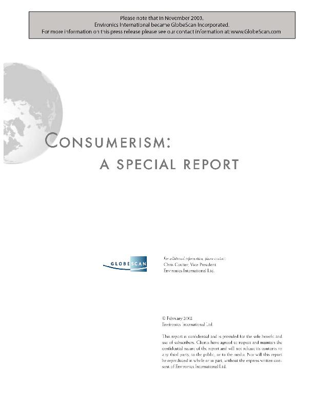 Consumerism: A Special Report4Environics Internationalconsumption brin