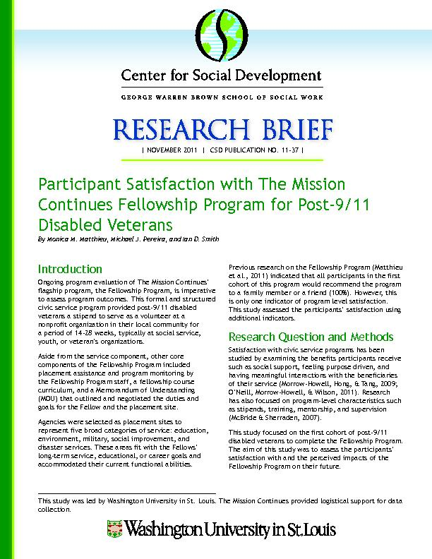 Participant Satisfaction with The Mission Continues Fellowship Program PDF document - DocSlides