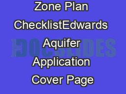 Contributing Zone Plan ChecklistEdwards Aquifer Application Cover Page
