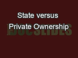 State versus Private Ownership