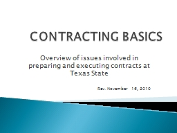 CONTRACTING BASICS PowerPoint PPT Presentation