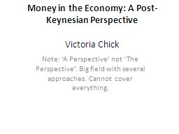 Money in the Economy: A Post-Keynesian Perspective