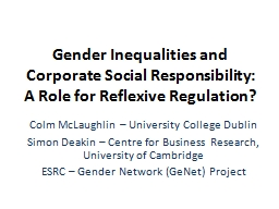 Gender Inequalities and Corporate Social Responsibility: A