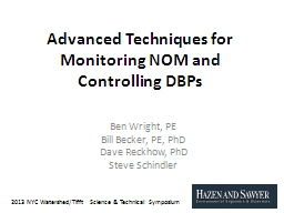Advanced Techniques for Monitoring NOM and Controlling DBPs