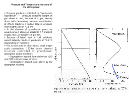 Pressure and Temperature structure of the atmosphere: