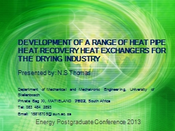 DEVELOPMENT OF A RANGE OF HEAT PIPE HEAT RECOVERY HEAT EXCH PowerPoint PPT Presentation