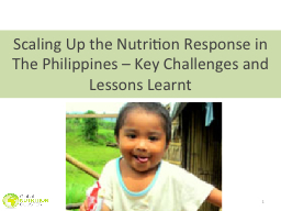 1 Scaling Up the Nutrition Response in