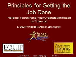 Principles for Getting the Job Done