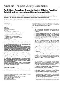 American Thoracic Society Documents An Ofcial American Thoracic Society Clinical Practice Guideline Exerciseinduced Bronchoconstriction Jonathan P