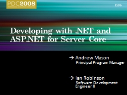 Developing with .NET and ASP.NET for Server Core