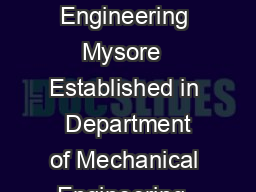 MTech Industrial Automation  Robotics The National Institute of Engineering Mysore  Established in  Department of Mechanical Engineering  The National Institute of Engineering NIE Mysore was establis