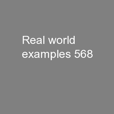 Real World Examples PowerPoint PPT Presentation
