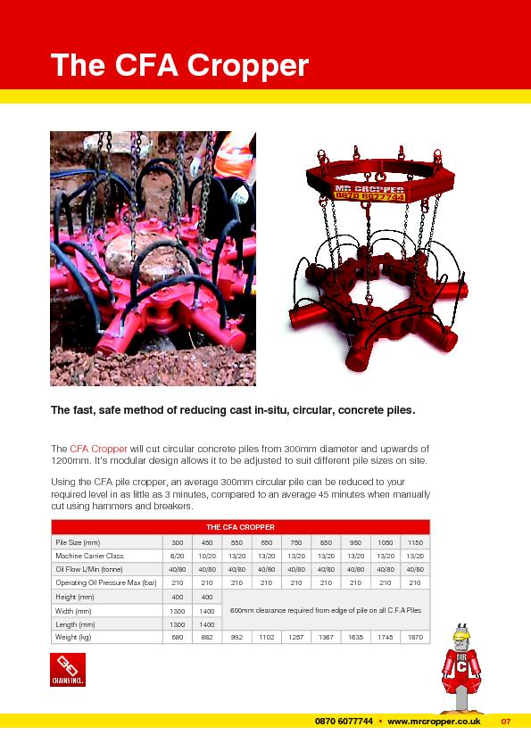 CHAINS INCL.The CFA CropperThe fast, safe method of reducing cast in-s